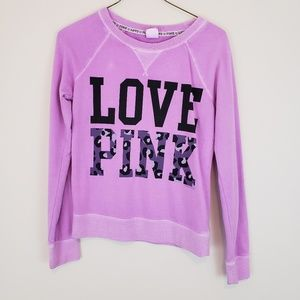 VS Pink Purple Sweatshirt Leopard Print